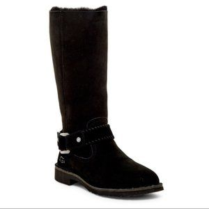 UGG Braiden Cuff Tall Black Suede Shearling Boot 7
